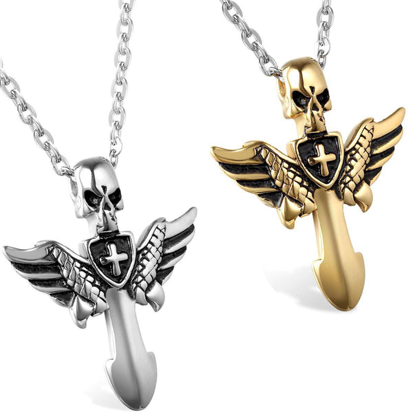 Stainless Steel Cross Angel Wings Necklace