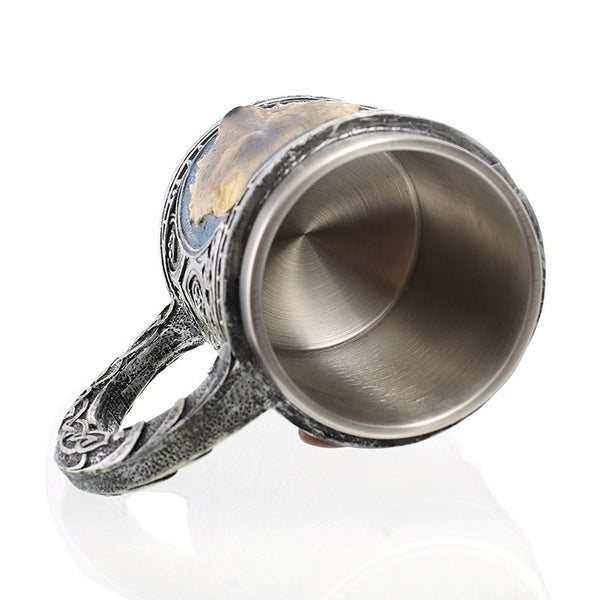 Stainless Steel Wolf Head Mug
