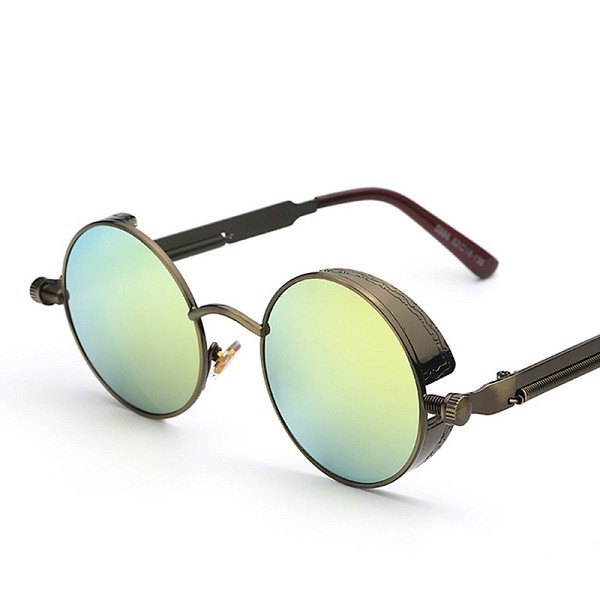 Steampunk Round Mirrored Sunglasses