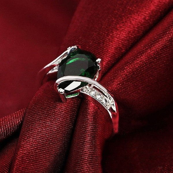 Tear Drop Emerald Ring