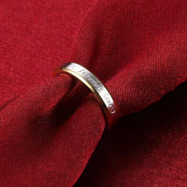 Two Tone Forever Love Couple Ring