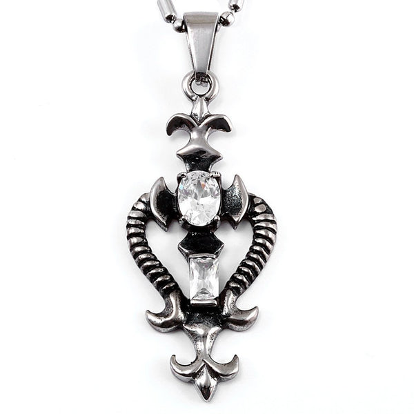 Vintage Gothic Stainless Steel Zirconia Necklace