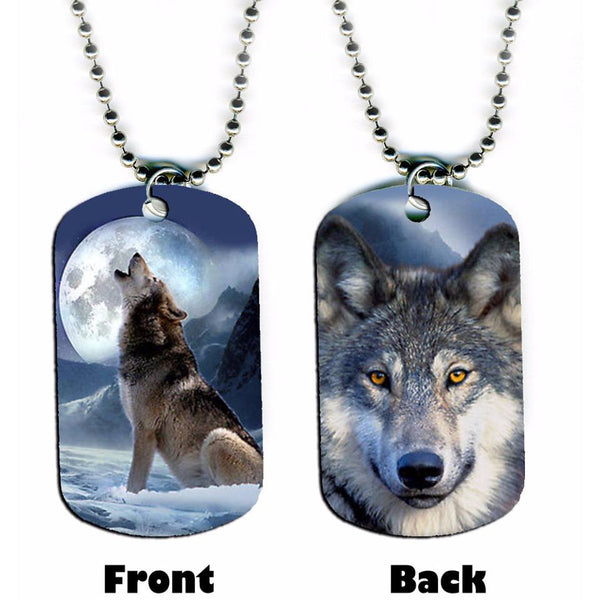 Wolf Dog Tag Necklace