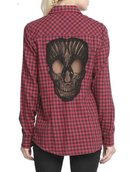 Womens Hollow Out Skull Plaid Long Sleeves