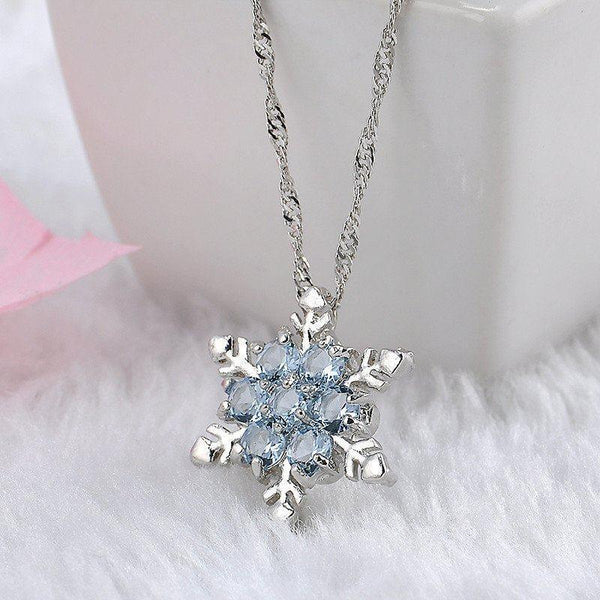 Zircon Snowflake Shaped Necklace