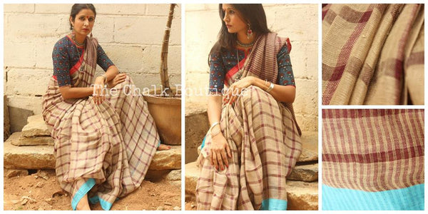 Checked 'chikoo' handwoven linen saree. BN-G