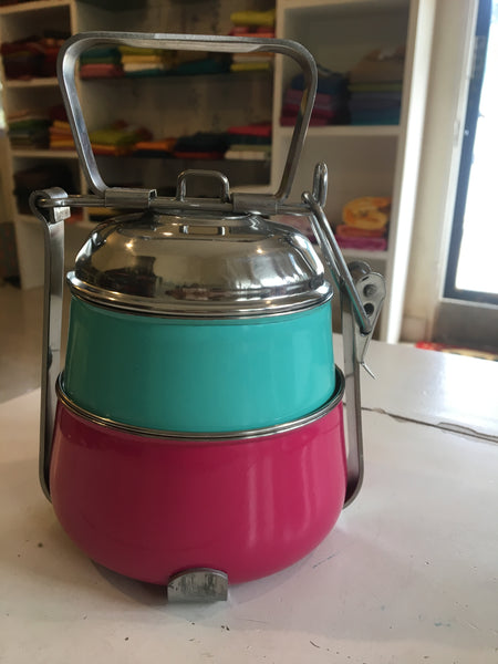 Multicolor Two Tier Tiffin Box. TCB-2TIF-3
