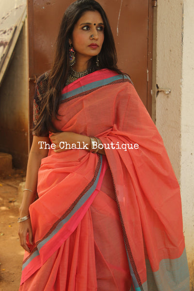 Handwoven Cotton Saree with bright border and pallu. CH-WA-1