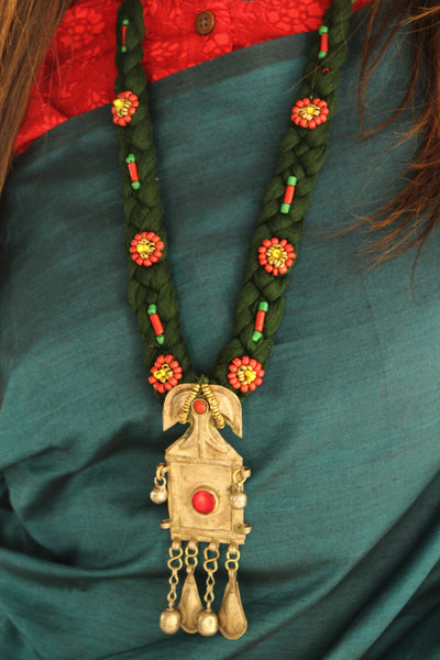Adjustable dori necklace with beads and antique afghan pendant.CC-LNP2-C2