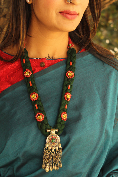 Adjustable dori necklace with beads and antique afghan pendant.CC-NLP1-C2