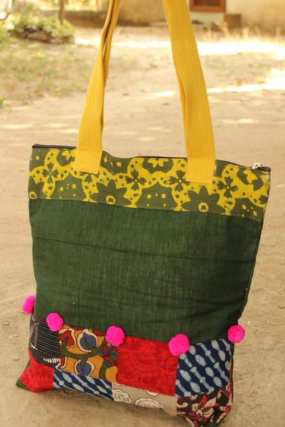 Handmade Patchwork Fabric tote with pompoms. CC-TB1-C2