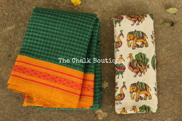 Green Maharashtra cotton checked saree with contrast blouse fabric. TCB-MH1-P18-The Chalk Boutique