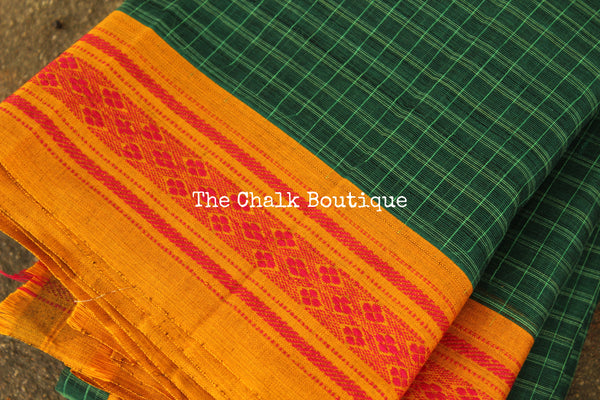 Green Maharashtra cotton checked saree with contrast blouse fabric. TCB-MH1-P18