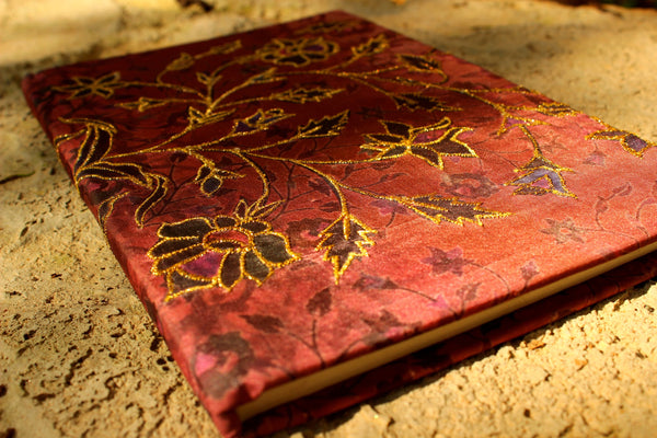 Fabric embroidered ruled Journal. KS-NB-6-C2
