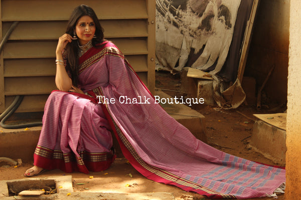 Purple Checked Narayanpet cotton saree with contrast woven border. TCB-NP2-P18