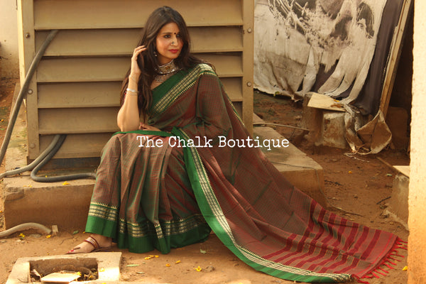 Dhoop-Chaav Green Checked Narayanpet cotton saree with contrast woven border. TCB-NP4-P18