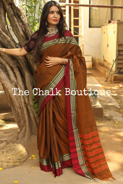 Brown Checked Narayanpet cotton saree with contrast woven border. TCB-NP5-P18-The Chalk Boutique
