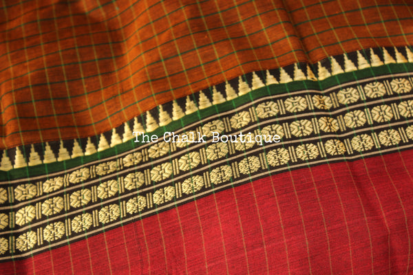 Brown Checked Narayanpet cotton saree with contrast woven border. TCB-NP5-P18