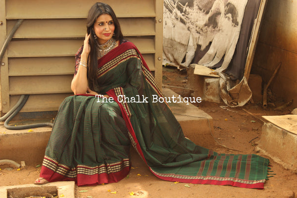 Green Checked Narayanpet cotton saree with contrast woven border. TCB-NP6-P18