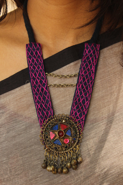 Hand embroidered Half Collar afghan pendant necklace. CC-HCOL2-C7