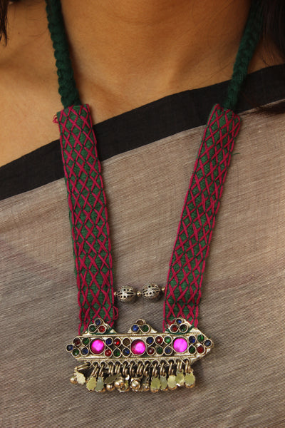 Hand embroidered Half Collar afghan pendant necklace. CC-HCOL3-C7