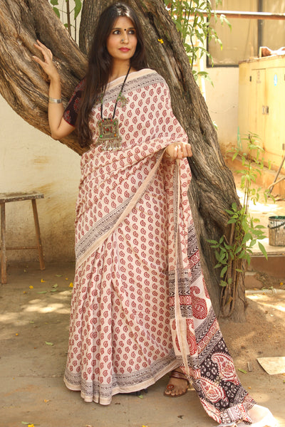 | Pretty Flowers | 'Bagh' hand block printed saree in maheshwari silk. TCB-SBGH1A-P1