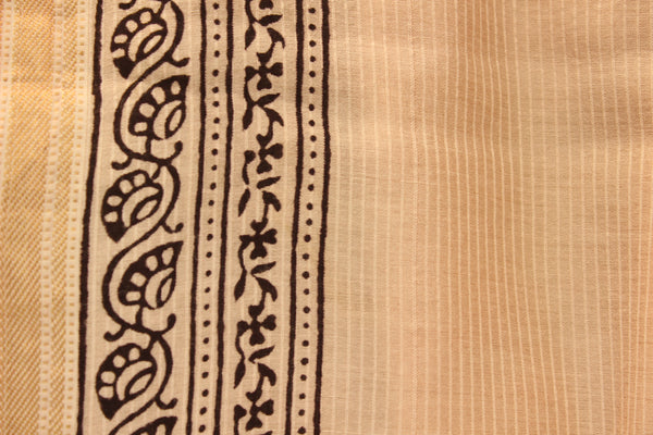 | Pretty Flowers | 'Bagh' hand block printed saree in maheshwari silk. TCB-SBGH1A-P1-The Chalk Boutique