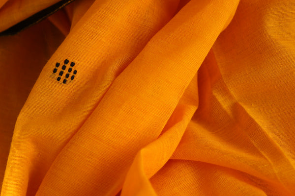 Mustard 'handloom mark' handwoven with bootas all over begumpuri saree. TCB-BB1-BG-C2-The Chalk Boutique