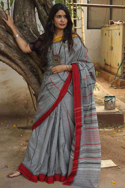 Grey 'handloom mark' handwoven begumpuri saree. TCB-AA1-BG-C2-The Chalk Boutique