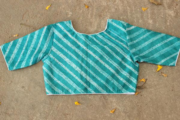 Chanderi Silk Blouse With Diagonal Double Stripe Shibori  B-53