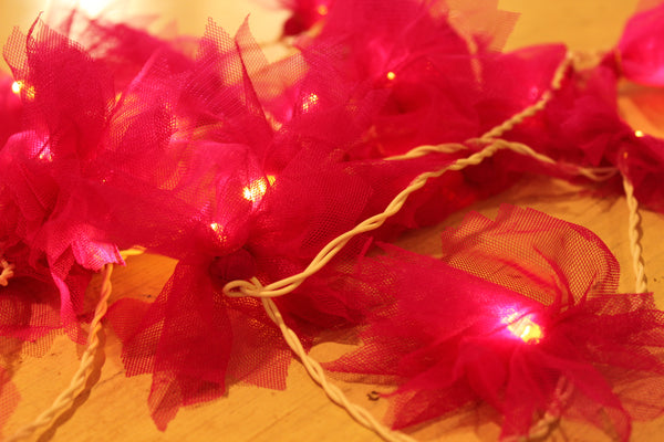 Pink rush carnation flower andmade and unusual fairy light in tulle.TCB-LGHT10-C1