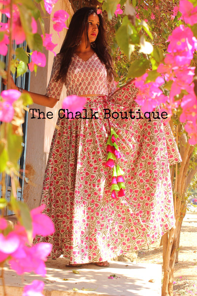 Hand Block Print Cotton Lehenga Set GC-L-116-The Chalk Boutique