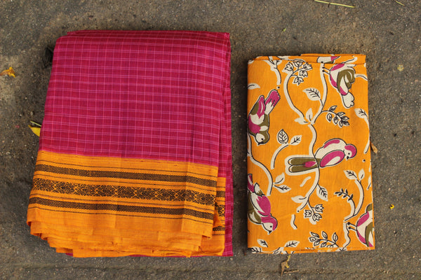 Pink Maharashtra cotton checked saree with contrast blouse fabric. TCB-MH4-P18