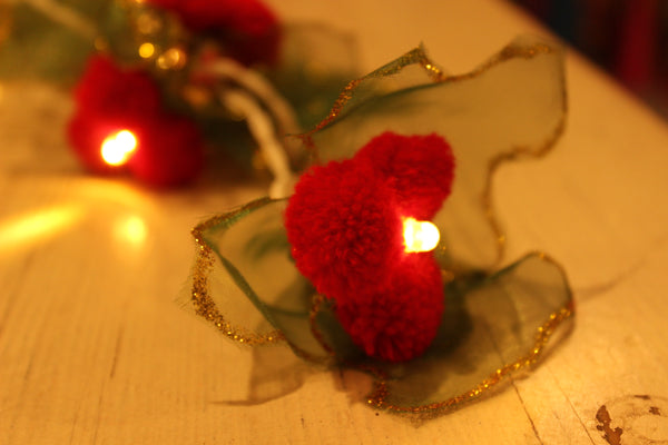 Green with gold unusual handmade fairy light in tissue and red pompom. TCB-LGHT17-C1