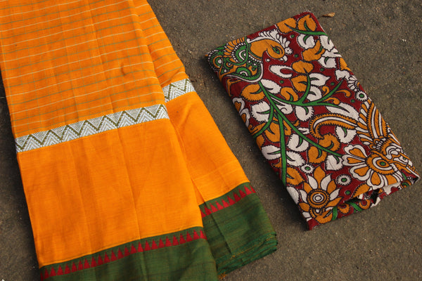 Yellow Maharashtra cotton checked saree with contrast blouse fabric. TCB-MH6-P18-The Chalk Boutique