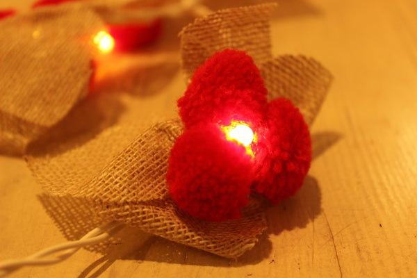 Handmade fairy light in burlap with pompoms. TCB-LGHT16-C1
