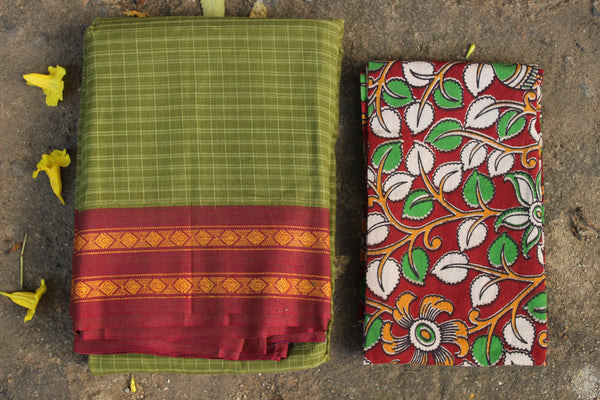 Green Maharashtra cotton checked saree with contrast blouse fabric. TCB-MH7-P18