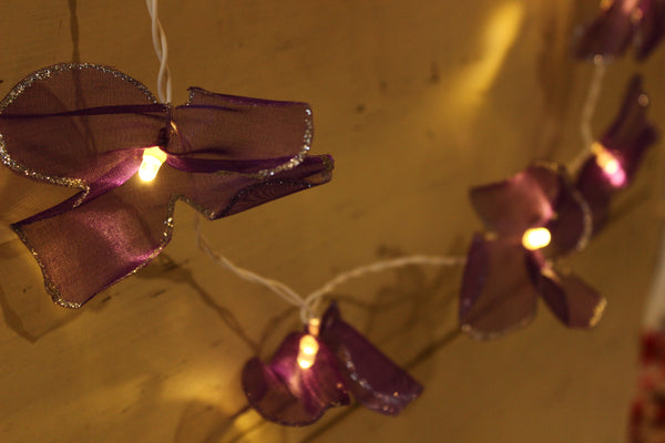 Deep Bluish purple and silver tissue handmade and unusual fairy light TCB-LGHT2-C1