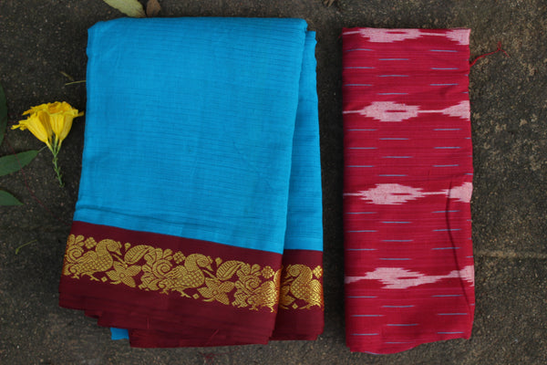 Blue Self Striped Gadwal cotton saree With red Border  TCB-GAD2-P18