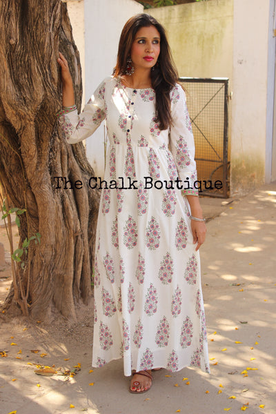 Block Print Kashish Dress GC-D-118-The Chalk Boutique