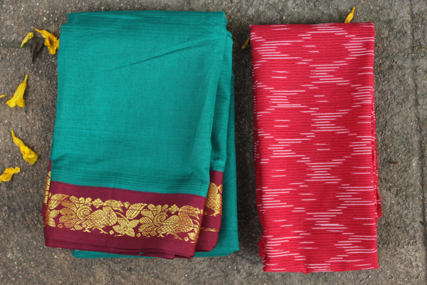Sea Green Self Striped Gadwal cotton saree With red Border  TCB-GAD3-P18