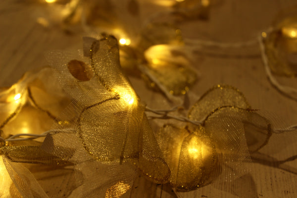 Double Flower tissue handmade and unusual fairy light in white and gold.TCB-LGHT8-C1