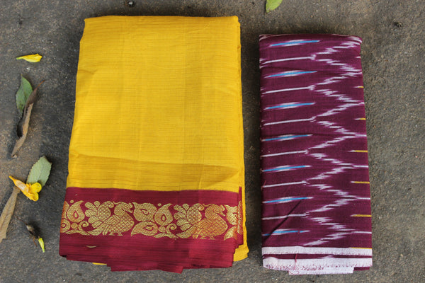 Yellow Self Striped Gadwal cotton saree With red Border  TCB-GAD4-P18