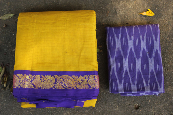 Yellow Self Striped Gadwal cotton saree With Blue Border  TCB-GAD5-P18