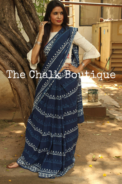 Handblock printed indigo dabu hand block print saree. TCB-IN1-RB1-The Chalk Boutique