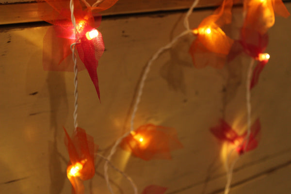 Single Flower tulle handmade and unusual fairy light in pink and orange.TCB-LGHT5-C1