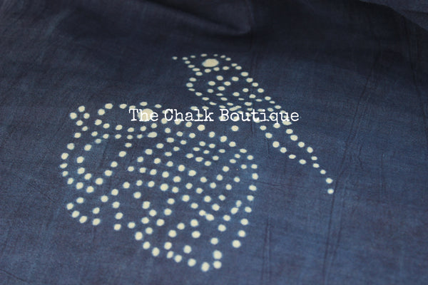 'Birdie elephant' Handblock printed indigo dabu hand block print saree. TCB-IN2-RB1-The Chalk Boutique
