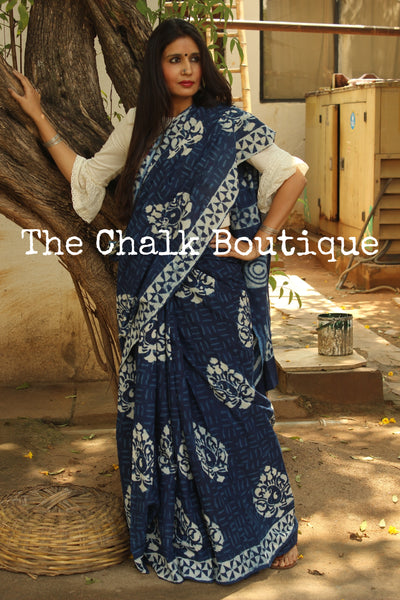 'Big Boota' Handblock printed indigo dabu hand block print saree. TCB-IN3-RB1