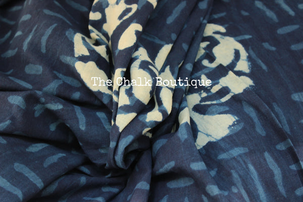 'Big Boota' Handblock printed indigo dabu hand block print saree. TCB-IN3-RB1-The Chalk Boutique