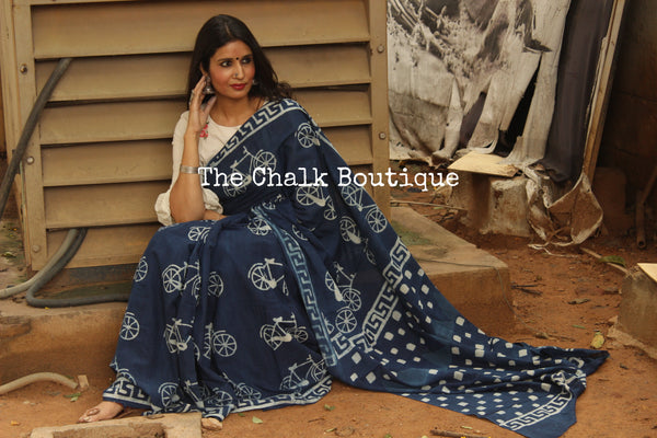 'Cycles' Handblock printed indigo dabu hand block print saree. TCB-IN5-RB1-The Chalk Boutique